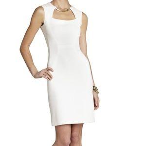 BCBGMAXAZRIA CLARA BLOCKED SHEATH DRESS WHITE